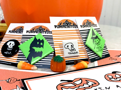 Spooky buttons and postcards hand drawn spooky halloween hand-pulled prints glow-in-the-dark buttons