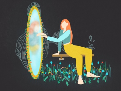 Strong girl's Magic mirror flowers magic procreate girl strong illustration