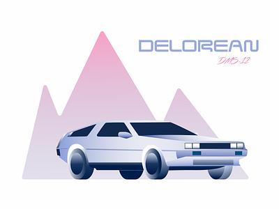 DeLorean 80s mountains automobile vehicle gradients vector illustration car retrowave retro