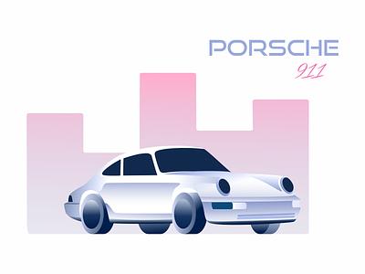 Porsche town pink gradient illustrator illustration vector car porsche 911