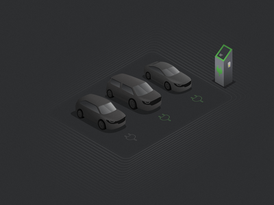 Wireless charging cars grey illustration vector figma car concept wireless charger charger 3d loop green charging station electric charging