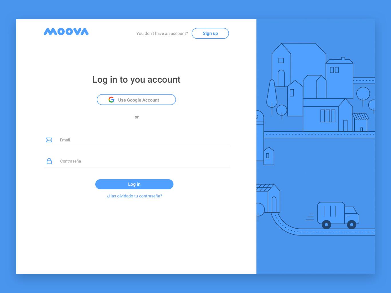 Moova Log In register interface design webapp ux design log in ui design