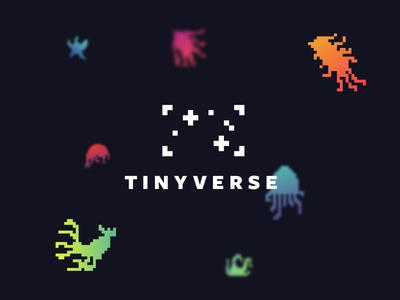 Tinyverse Logo augmented reality game ui mobile app design game monsters creatures pixel art typography logo mobile app design game design