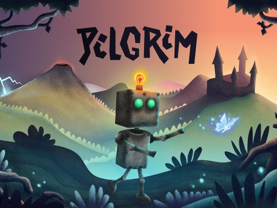 Pilgrim key art wip puzzle game language learning game based learning vector point and click illustration app android app android adventure game mobile app design design game design