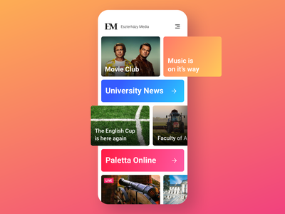 Eszterházy Media App UI university ui  ux tv app radio news feed news design app media android app design activities
