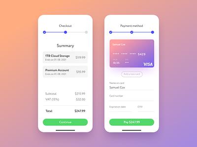 Credit Card Checkout — Daily UI 2 ux ui credit card checkout mobile app design ios design dailyui 002 dailyui app 002