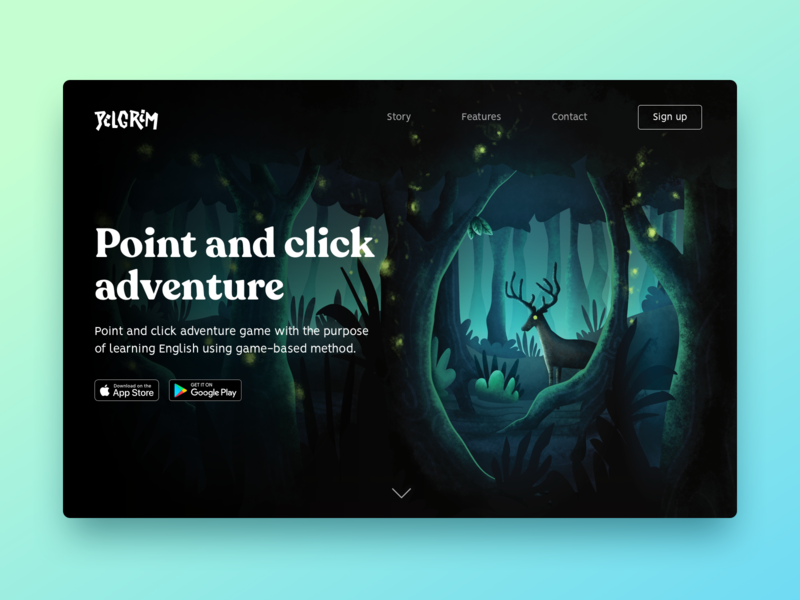 Landing Page — Daily UI 3 landing page dailyui 003 003 dailyui mobile app design adventure game ui point and click illustration android ios game design app design