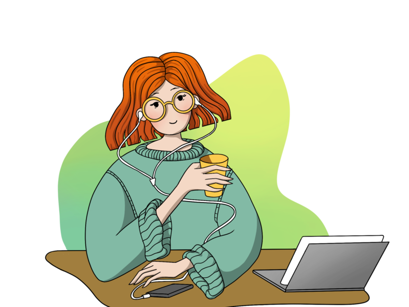 Girl with laptop / Illustration