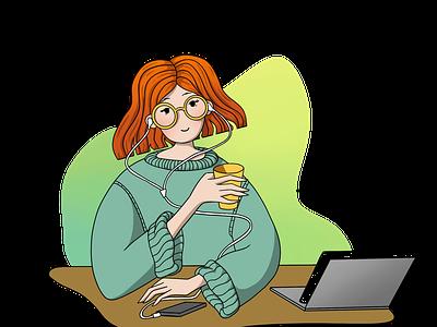 Girl with laptop / Illustration laptop procreate working process animation ui website web illustraion uiillustration minimal simple landing page uxdesign uidesign uiux girl