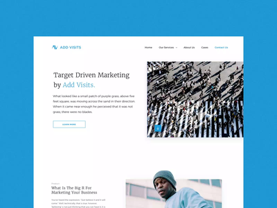 Creative landing page / Target Driven Marketing website target product marketing site marketing landingpage homepage creative contact us blue simple web uiux ui uidesign minimal landing page design