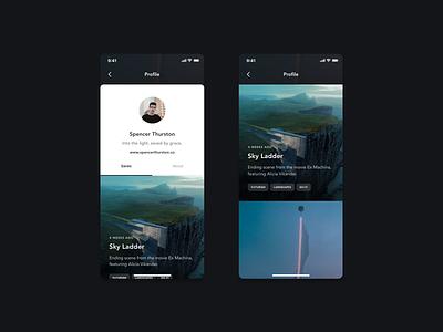 Profile Saves app design ios profile card tags saved posts profiles app ui app