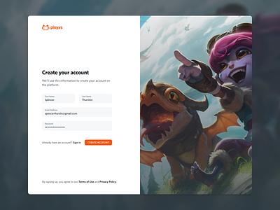 Account Registration esports web apps ui product design sign up create account registration