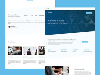 Exela Technologies Landing visual design rebrand art direction saas website landingpage web design ux