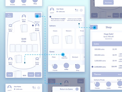 Mobile Card Game Wireframe