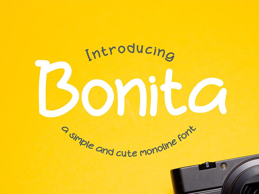 Bonita - Free simple cute monoline font typefaces typogaphy font family free fonts typeface typography free font font