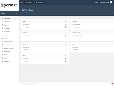 Dashboard - Dark cms app ahensycom uxdigital uxdesign web development
