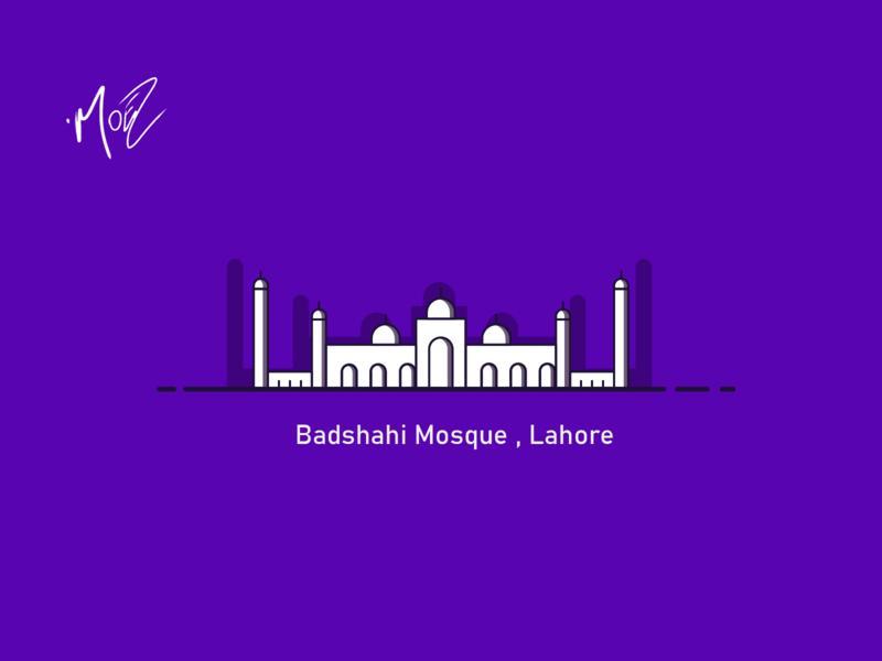 Badshahi Mosque , Lahore branding minimal art design desi art vector flat ar2d pakistan