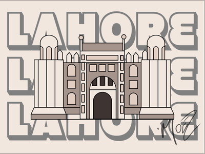 Lahore Fort minimal app icon logo aseprite typography islamabad design branding illustration lahore fort illustration fort of lahore lahore fort lahore