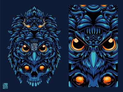 3 Soul of Life Illustration new shot mythical creature owls owl bird lion king lion kull owl animal head mythical illustration design animal illustration