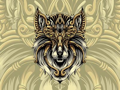 Mythical Wolf wolf animal illustration sacredgeometry vector design illustration