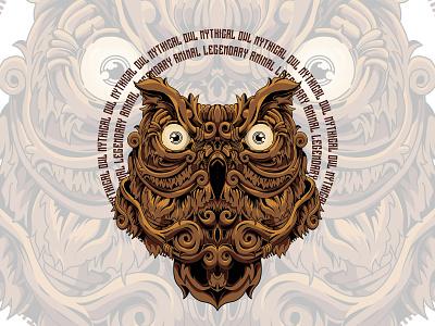Mythical Owl owl vector sacredgeometry illustration design animal illustration