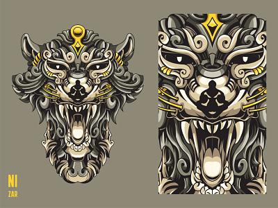 Mythical Tazmanian Devil ornamental ornaments tatoo mythical creature shot new shot dribbble mythical animal head illustration design animal illustration tasmanian tazmanian