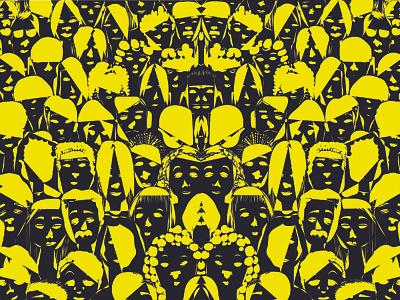 Face #01 crowd minimalart wallpaper diversity faces adobe photoshop yellow black abstract art flat vector design illustration