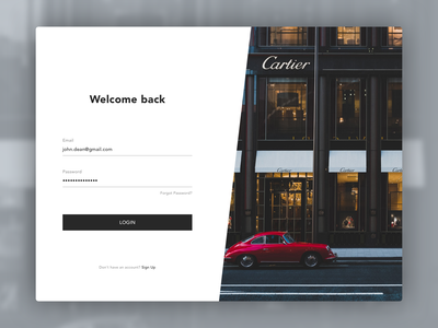 Login page for Luxury page sketch luxury design luxury login login page
