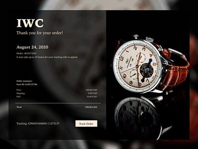 Daily UI 017 branding watches dark ui photoshop figma design email receipt 100 day challenge dailyui design app web ux ui