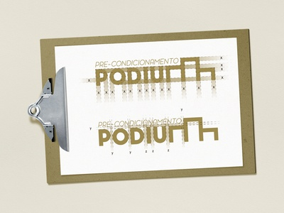 PODIUM logo font weight design and kerning