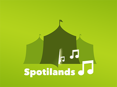 Spotilands green tents music illustration
