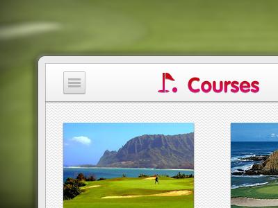 Interface golf app golf green interface app purple