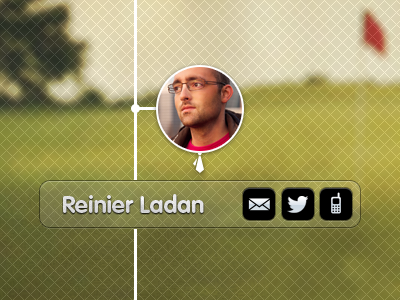 Golf profile page golf green interface app buttons profile mugshot