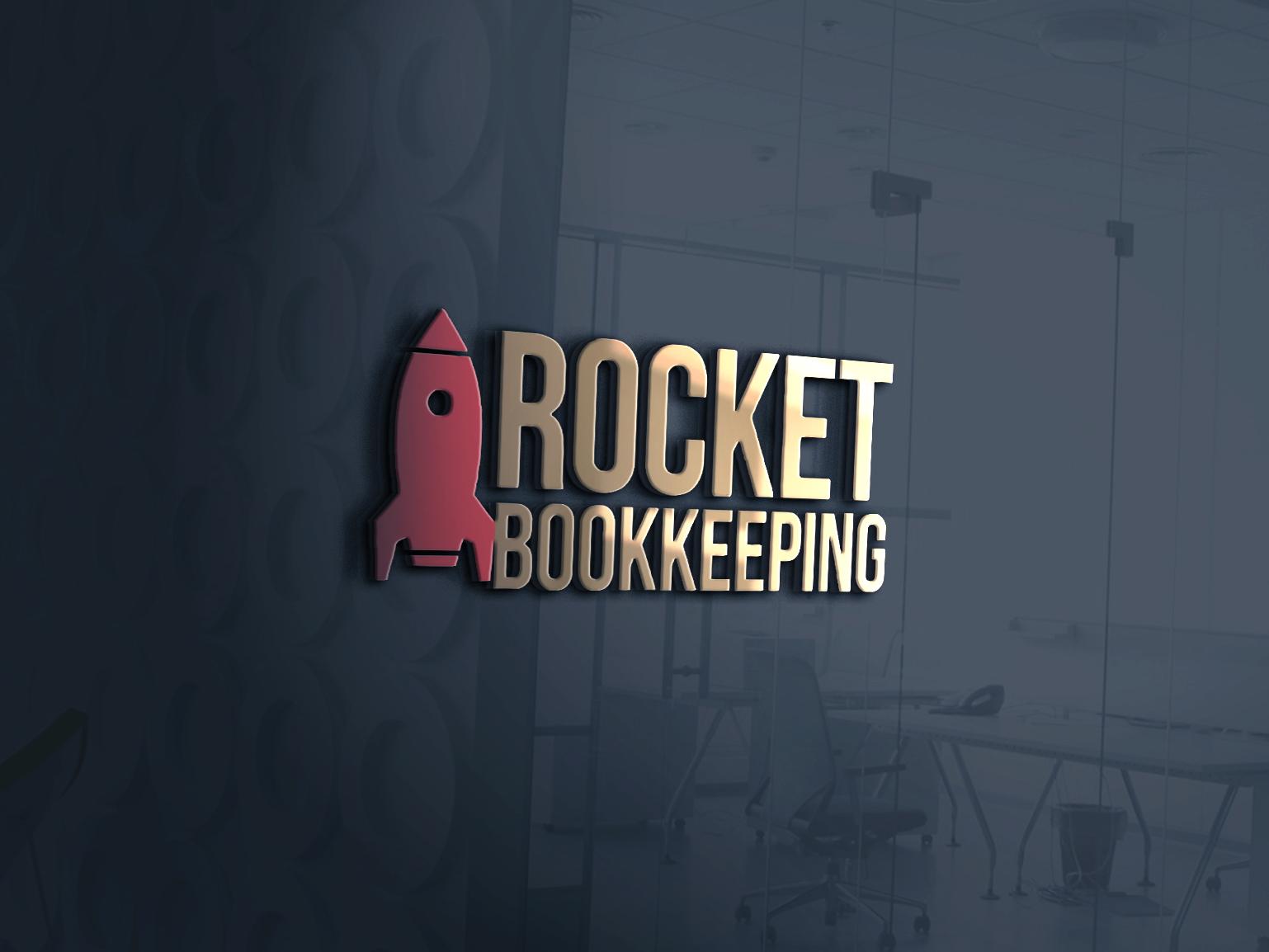 rocket bookkeeping logo typography logo unique logo creative logo rocket bookkeeping logo rocket logo