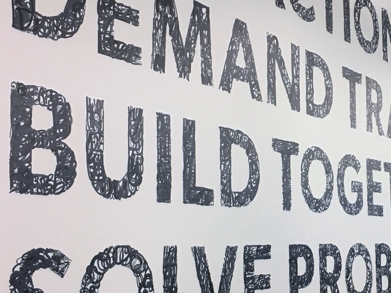 Addepar Core Values office design mural values typography design