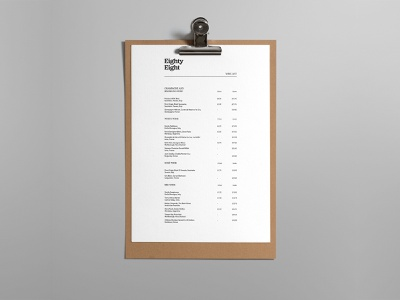 Wine List - Eighty Eight Restaurant hospitality design layout design bold typography menu printing clipboard menu restaurant wine print design 2020 layout indesign print wine list