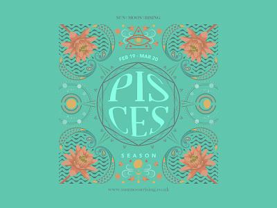 Pisces - Astrology - Illustration ♓️🐟 digitalart moon sun branding zodiac season zodiac horoscopes pisces fish turquiose green giftcard printdesign astrology flowers flowerart illustrator lilies water illustration