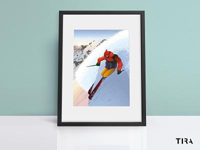 Powder run 🤙 after effects sun sunlight snow snowboard sport sportillustration atmosphere drawing inspiration vector drawing vibrantcolors designinspiration ski illustration illustrator graphic design