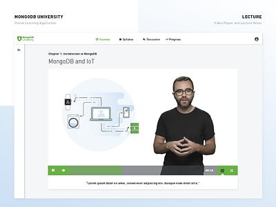 New MongoDB University – Online Learning Platform lessons video player course e-learning online learning platform design ux ui