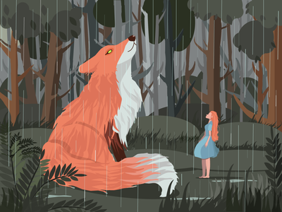 forest fairy tale rain forest fox girl vector character illustration