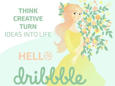 Hello Dribbble characters characterdesign character illustrator type minimal website flat web branding vector design illustration