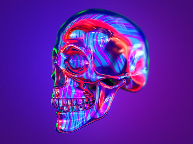 Everybody likes skulls! Right? colorhype art digital practice skull photoshop adobe redshift houdini render cgi 3d