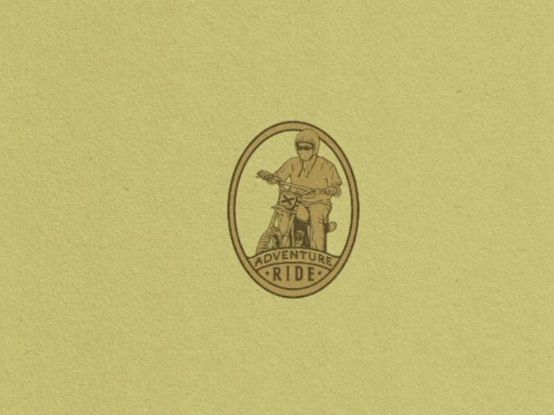 Adventure motorcycle hand drawn logo illustration vintage