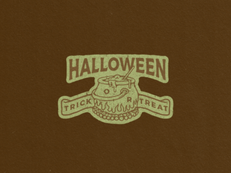 Trick or Treat design logo hand drawn vintage illustration badges halloween