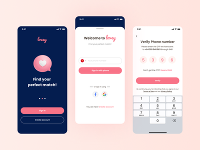 [Daily UI] Sign in form in mobile with OTP pink dating app sign in forrm sign in daily ui ux ui design