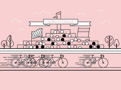Giro d'Italia - Wip frame illustration lines outlines outline pink ciclismo bike bicycle cycle italia giro