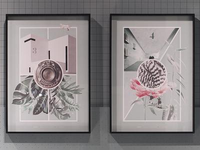 Collage Artwork - Capod'opera lines pastel graphics art fair quadro photo print collage