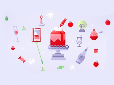 Christmas Dinner  xmas drink cake sweet ai psd vector flat illustration icons christmas