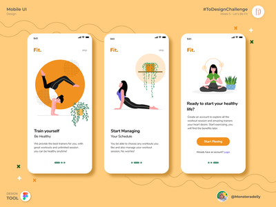 Fit - Let's Get Fit! typography icon flat ux branding mobile app app ui illustration design