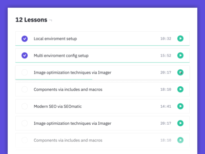 Craft CMS Video Course - Lessons View